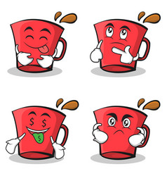 Collection of red glass character cartoon set vector