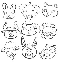 Collection stock of animal head doodles vector