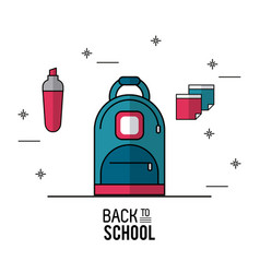 Color poster of back to school with backpack in vector