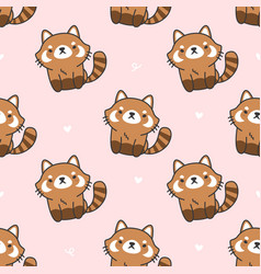 cute red panda seamless pattern background vector image