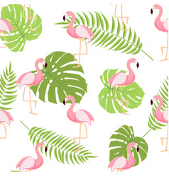 cute retro seamless flamingo pattern background vector image