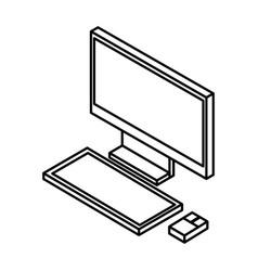 desktop computer isometric icon vector image