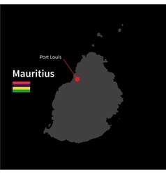 Detailed map of Mauritius and capital city Port vector image