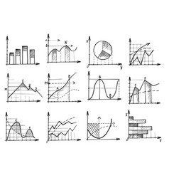 doodle business graph and chart sketch icon set vector image
