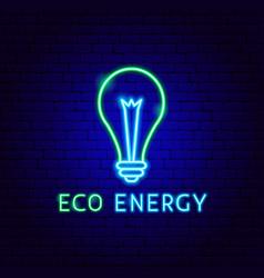 eco energy neon label vector image