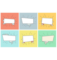 empty ribbon banners retro bubbles set vector image