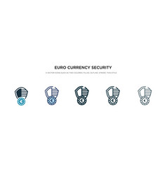 Euro currency security shield icon in different vector