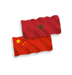 Flags morocco and china on a white background vector
