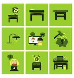 Flat business office furniture icons vector