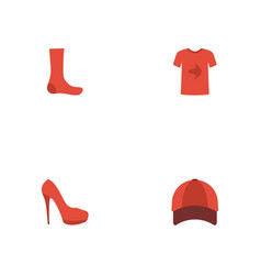 Flat icons casual hosiery hat and other vector