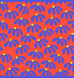 flowers seamless pattern red blue yellow vector image