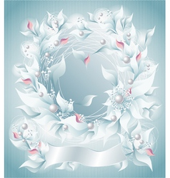 Frame or background with flowers pearls petals rib vector