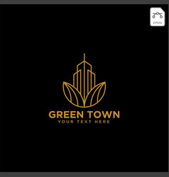 Green city agriculture with gold color logo vector
