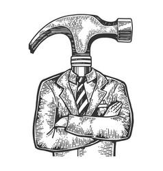 hammer head businessman sketch engraving vector image