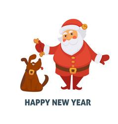 happy new year cartoon santa and dog vector image