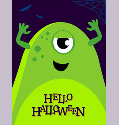 Helloween with funny monster vector