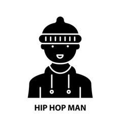Hip hop man icon black sign with editable vector