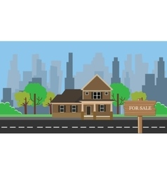 Home for sale with wood wooden sign board vector