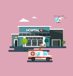 hospital building with ambulance car flat design vector image