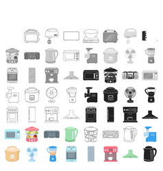 household appliances set icons in cartoon style vector image