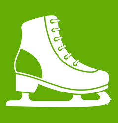 ice skate icon green vector image