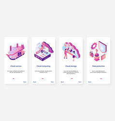 Isometric cloud service data protection ux ui vector