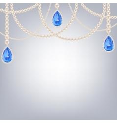 jewelry with sapphire pendants vector image