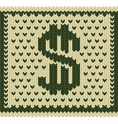 Knitted dollar scheme vector