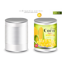 metallic canned corn realistic product vector image