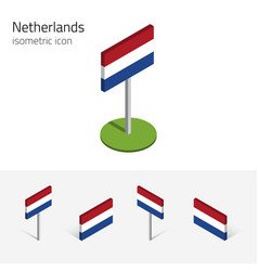 Netherlands flag 3d isometric icons vector