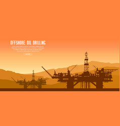 offshore oil rigs at sunset vector image
