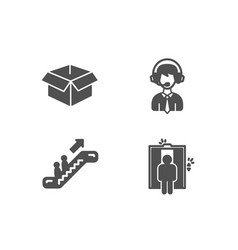 Opened box shipping support and escalator icons vector