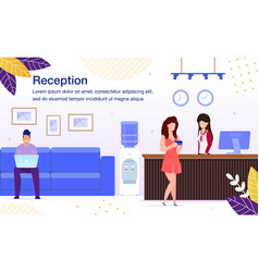 Reception service for hotel clients banner vector