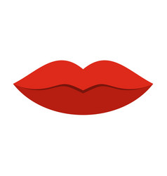 Red female lips icon flat style vector