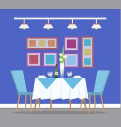 Restaurant interiror table and dinner setting vector