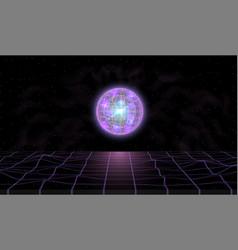Retrowave synthwave vaporwave landscape in space vector