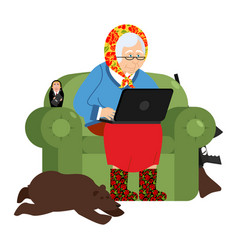 Russian hacker grandmother and laptop old woman vector