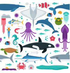 Sea animals seamless pattern vector