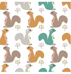 seamless pattern with squirrel and berries vector image