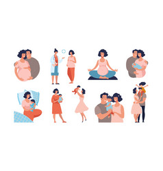Set about pregnancy and motherhood dad and mom vector