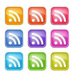 set colorful rss icons vector image