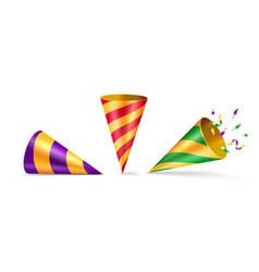 Set isolated party hat or cone birthday hat vector