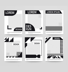 set minimalistic geometric poster covers black vector image