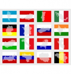 set of flags with maps vector image