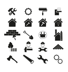 set of improvement repair icons black vector image