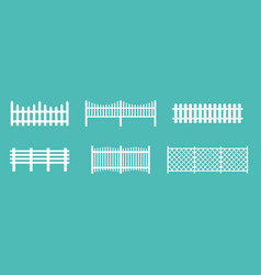set of white rural wooden vector image