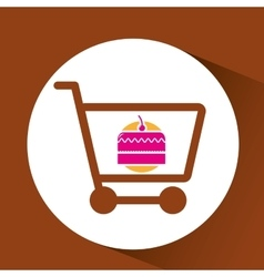 Shopping Cart with cake vector