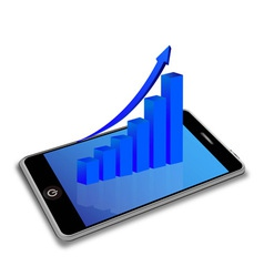 smart phone and business graph vector image