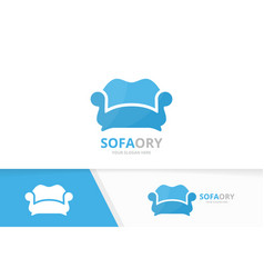 sofa and bed logo combination couch and vector image