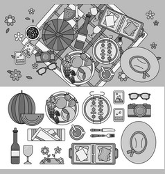 summer picnic in park line monochrome vector image
